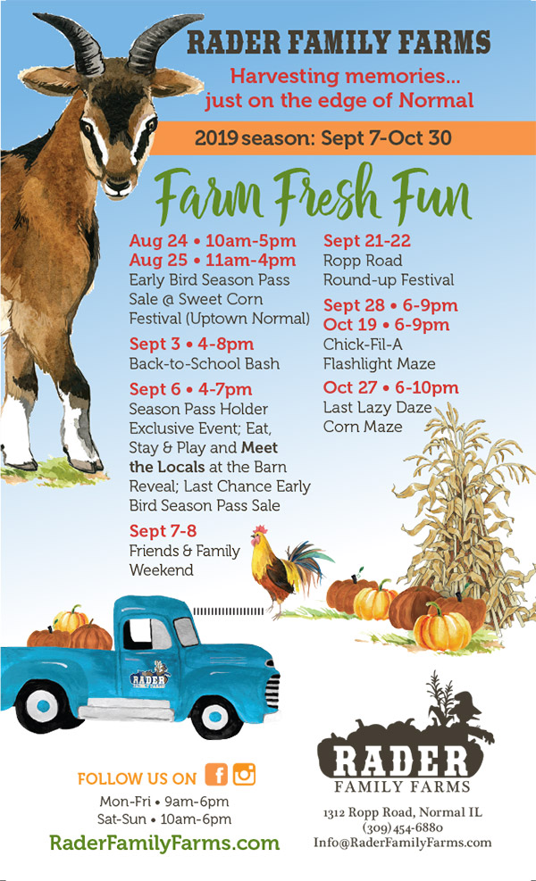 2019 Rader Family Farms Calendar of Events